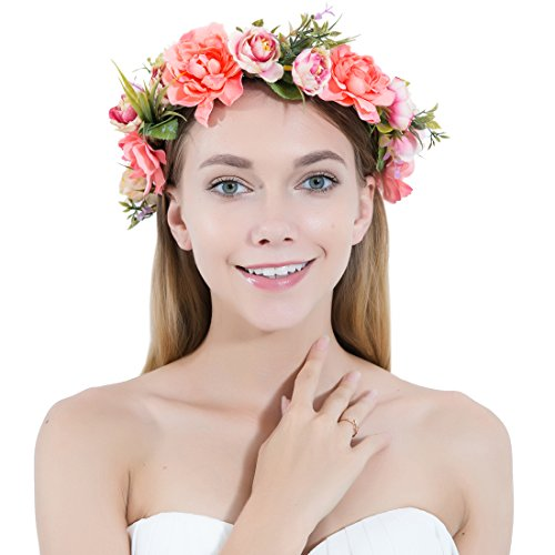 Flower Crown Wreath Headbands Women Girls Handmade Boho Floral Garland Wedding Birthday Party Photos Festival (Red and Pink) by Toes Home