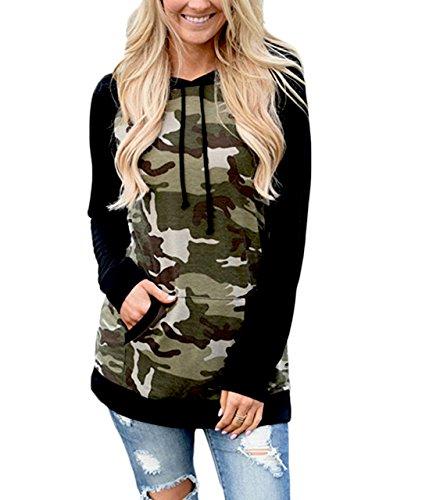 ZILIN Women's Long Sleeve Camouflage Print Pullover Hooded Sweatshirt (XL, Black)