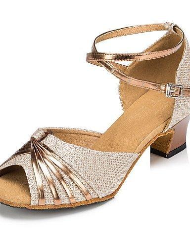 ShangYi Chaussures de danse ( Autre ) - Non Personnalisables - Talon Cubain - Satin / Paillette Brillante -Latine / Jazz / Moderne / Chaussures Gold