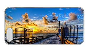 Customized iphone 5 case customized covers Ocean beach dock beautiful sunset PC Transparent for Apple iPhone 5/5S