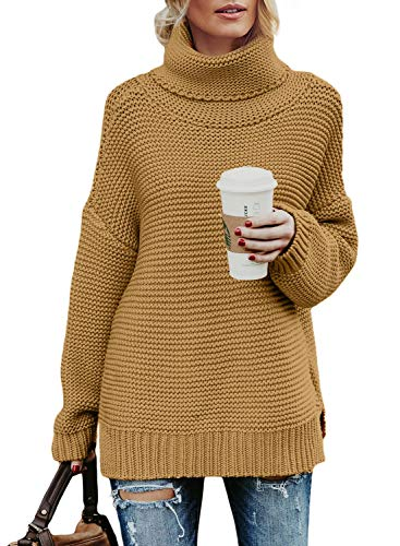 Asvivid Womens Lightweight Turtle Neck Pullover Long Sleeve Solid Cotton Baggy Knit Junior Thick Sweater Plus Size 1X Khaki