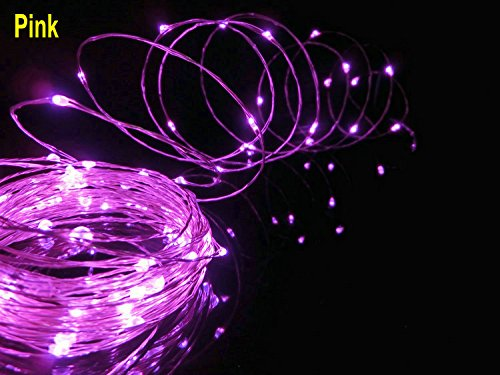 HJD LIGHT®LED-Battery Operated Copper Wire String Lights Rope Lights Waterproof w Flexible Fairy Lights for Wedding Christmas Festival Hotel Party Decoration 50leds 5M 4.5V (pink)