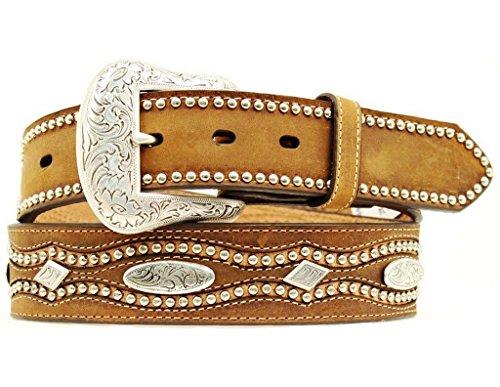 Nocona Men's Oval Diamond Conchos Belt, Medium Brown Distressed, 36 (Diamond Concho Belt)