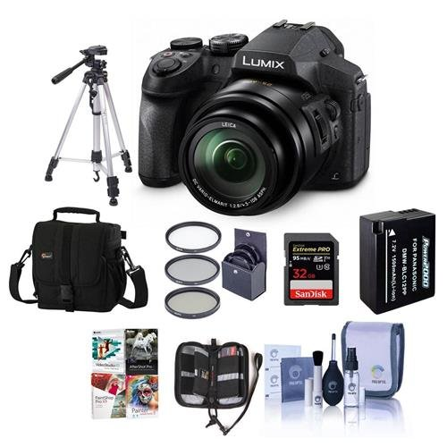 Panasonic Lumix DMC-FZ300 12.1MP Digital Camera 24x Zoom - Bundle with Camera Case, 32GB U3 SDHC Card, Spare Battery, 52mm UV Filter, Tripod, Cleaning Kit, Memory Wallet, Software Package (12.1 Mp Digital Camera)