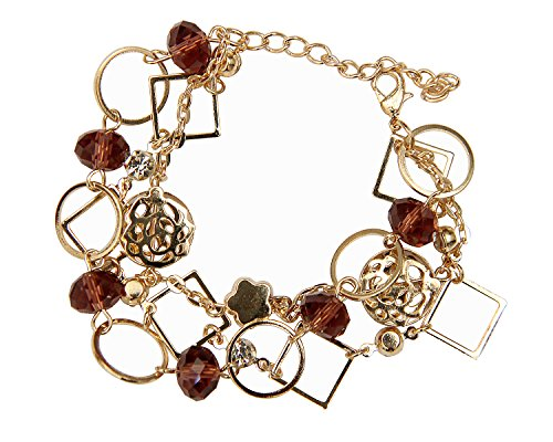 Crystal Charm Wrap Bracelet in Brown With Gold Vintage Finish by (Daltile Flooring)