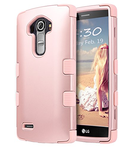 ULAK LG G4 Case, G4 Case, 3 in 1 Shield Shock Absorbing Case with Hybrid Cover Soft Silicone + Hard PC Material Design for LG G4 (5.5 inch) 2015 Release Rose Gold