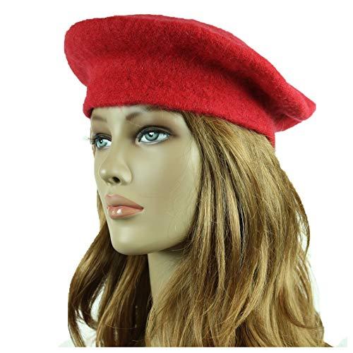 90210 Wholesale Wool French Beret Hat Fashion Artist Hats Casual Plain Beanie Cap Unisex Caps (Red)