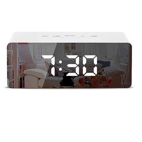 LED Espejo Despertador Despertador Digital Tabla Reloj Despertador Luz Electrónica Gran Hora Temperatura Pantalla Hogar Decoración