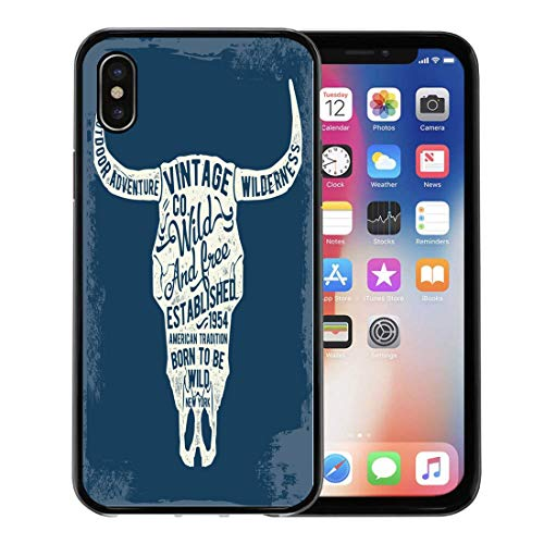 Semtomn Phone Case for Apple iPhone Xs case,Desert-Shirt Vintage Cow Skull for Western Buffalo States Tribal for iPhone X Case,Rubber Border Protective Case,Black (Border Western Shirt)