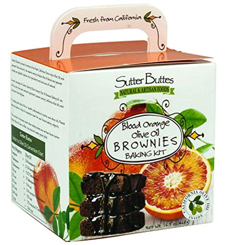 (Sutter Buttes Orange Brownie Mix - Double Fudge Brownies with Blood Orange Extra Virgin Olive Oil (16.5 oz. box), Baking Kit for Quick and Easy Moist, Chewy Homemade Chocolate Brownies, Dairy-Free)