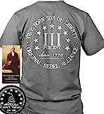 Sons of Liberty Sons Of Libery Three Percent. True Born Gray/2XL T-Shirt. MA.