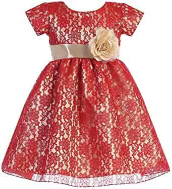 eec4e6478 Lito Baby Girls Red Gold Lace Shiny Satin Underlay Christmas Dress 6-24M