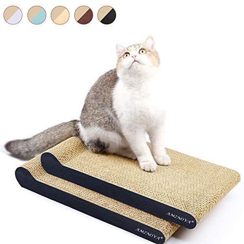Scratching Ramp Kitty (AMZNOVA Cat Scratchers, Corrugated Cardboard Scratch Lounge, Durable Kitty Scratching Pad with Bottom, Catnip Included, 2 Pack, Textured Black)