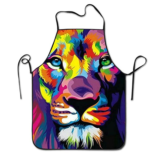 Tyrence Colorful Art Lion Adjustable Apron for Kitchen BBQ Barbecue Cooking Lady