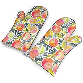 VshiXzno Colorful Peach Oven Mitts,Professional Heat Resistant to 500?? F,Non-Slip Kitchen Oven Gloves for Cooking,Baking,Grilling,Barbecue Potholders