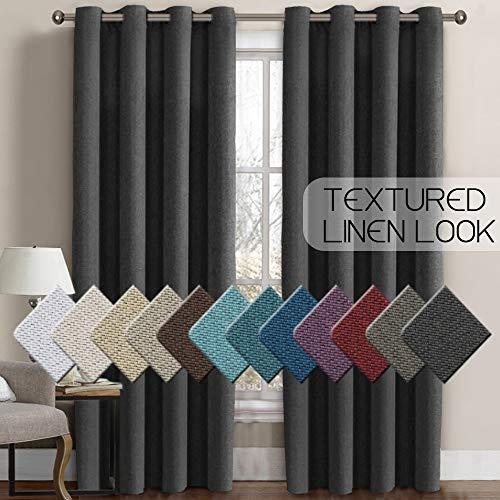 H.VERSAILTEX Linen Curtains Room Darkening Light Blocking Thermal Insulated Heavy Weight Textured Rich Linen Burlap Curtains for Bedroom/Living Room Curtain