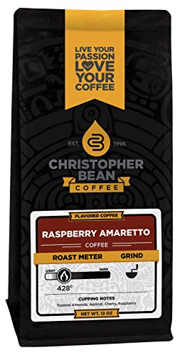 Christopher Bean Coffee Flavored Whole Bean, Amaretto Raspberry, 12 Ounce