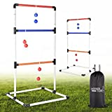 Ladder Toss Ball Game Set - Box Shaped Sturdy & Stable Base – 6 Rubber Toss Bolos with Thick Rope – Built-in Score Tracker – Ideal for Indoor/Outdoor Game - With Backpack Bag – Easy Setup – 2-4 Player