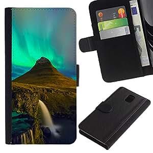 // PHONE CASE GIFT // Moda Estuche Funda de Cuero Billetera Tarjeta de crédito dinero bolsa Cubierta de proteccion Caso Samsung Galaxy Note 3 III / Aurora Borealis Waterfall /