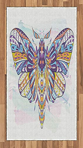 Animals Area Rug Grunge Paint Smear Background with Colorful Hawk Moth with Ornamental Motifs Tattoo Flat Woven Accent Rug for Living Room Bedroom Dining Room