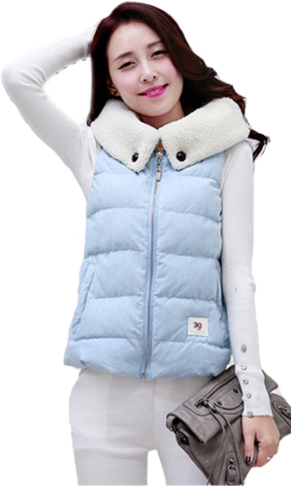Queenshiny New Style Women's Short Down Vest with Wool Collar-Light Blue-S(4-6)