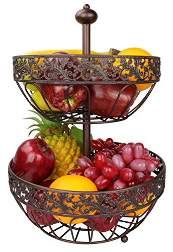 RosyLine 2-Tier Fruit Basket home Fruit Basket Decorative Display Stand, Multi purpose bowl, Home accent furnishings ()