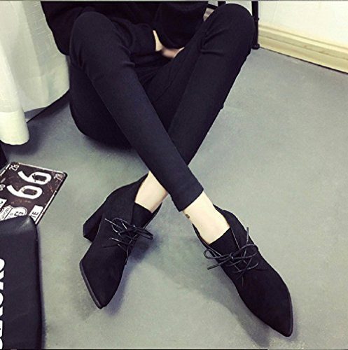 Chaussures Infinite Inception Pointues Faux Lzr Noire Couleur Daim Lacets 039 Pro Femmes Pour 5rq5xEwX