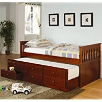 Coaster Twin Daybed with Trundle & Drawers, Cherry Finish