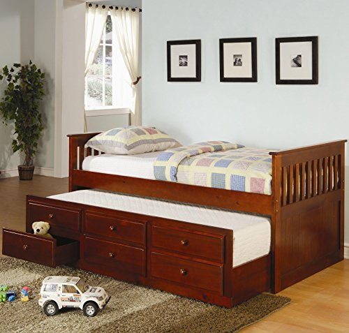 Coaster Daybed Trundle Drawers Cherry