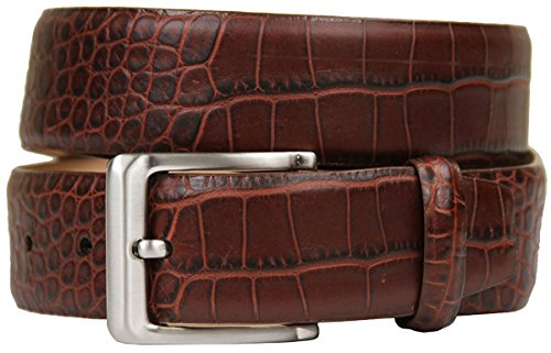 [Hagora Men Washed Genuine Calfskin Leather Crocodile Skin Embossing Buckle Belt,Brown 36] (Gold Crocodile Belt)