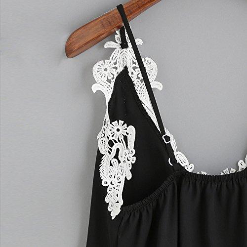 SKY Especially !!Mujer La Sra Negro tirantes de encaje camisa de gasa Negro