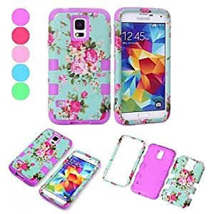 3 in 1 Chinese Rose Style Plastic and Sillcone Composite Detachable Back Case for Samsung Galaxy S5 I9600,Green