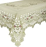 Xia Home Fashions Rose Garden Embroidered Cutwork Floral Tablecloth, 70-Inch by 108-Inch