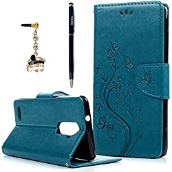 ZTE ZMAX Pro / ZTE Carry Z981 Wallet Case, YOKIRIN Wrist Strap Flip Folio Kickstand PU Leather Wallet Cover Skin Embossed Floral Butterfly with ID&Credit Card Holder 3D Diamond Elephant Dust Plug,Blue