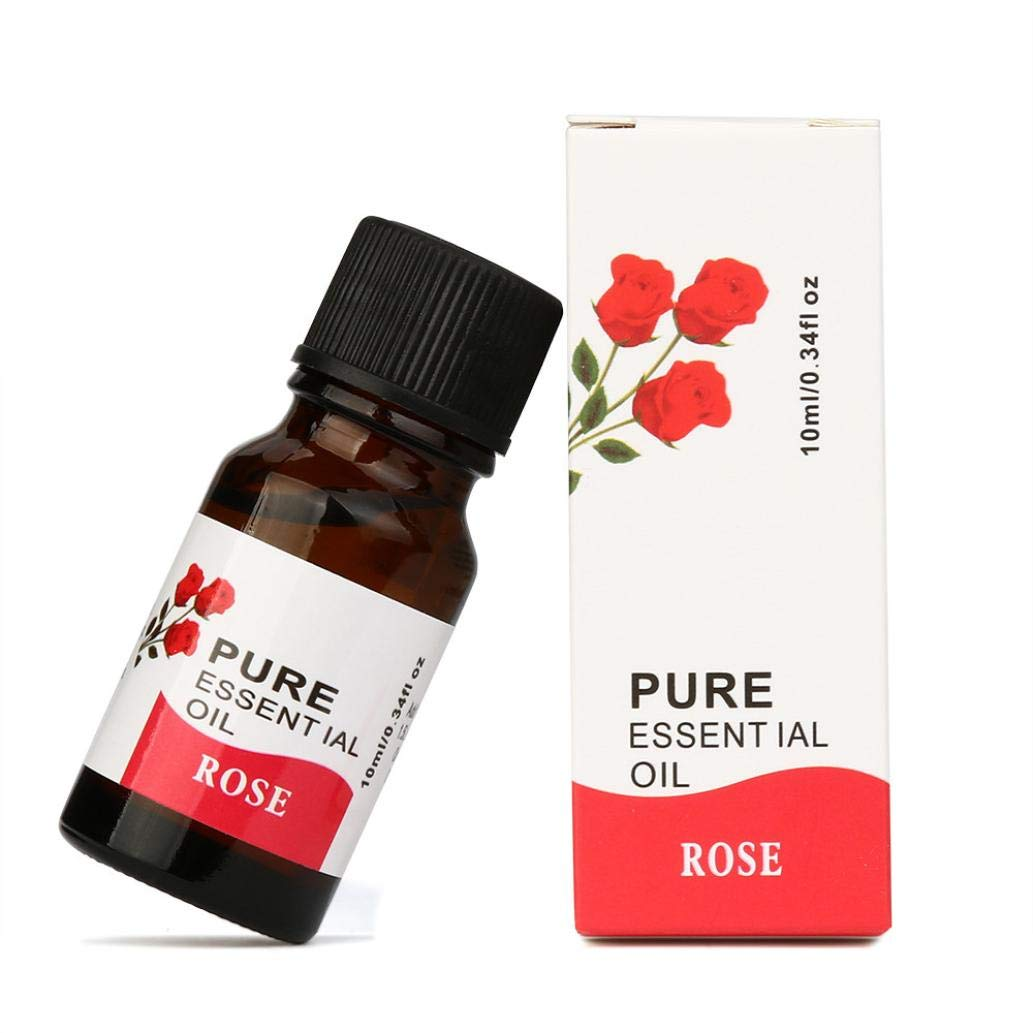 LiPing 10ml 100% Pure & Natural Aromatic Plants Essential Oils -Natural Essential Oils Aromatherapy Scent Skin Care- Relieve Stress Scent Skin Care (A:rose)