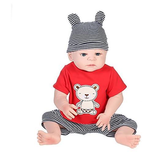 chollos oferta descuentos barato Decdeal 22 Pulgadas Muñeco Reborn Bebé Muñeca de Juquete de Silicona Regalo para Niños Cumpleaños Navidad