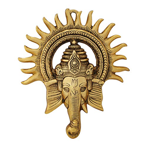 Handicrafts Paradise Wall Hanging Ganesha Medium Sun Shaped Antique Golden Finish in Metal