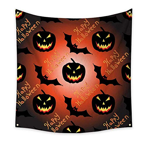 BlountDecor Dormitory Tapestry Halloween Seamless Vector Pattern Background Wallpaper 39W x 39L Inch ()