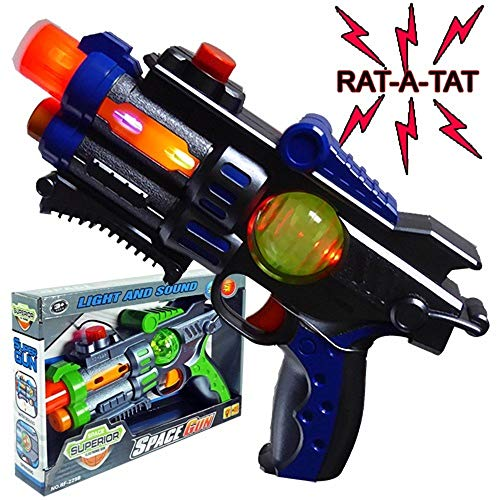 iGifts Inc. Light Up Toy Gun Space Laser Ray Blaster w/ Sound Vibration & Spinning Light-Up LED Random Color