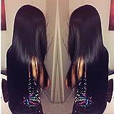 Jaycee Hair Brazilian 4 Bundles Virgin Hair Silky Straight Hair Grade 8A 100% Unprocessed Virgin Human Hair Extensions Natural Black (100+/-5g)/pc(24 24 26 26)