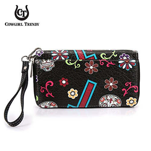 Clutch Skull of Black the Purse Calavera Sugar Cross Wristlet Western Wallet Dead Day WYdttq17