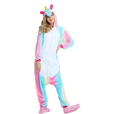 Pijama de unicornio, unisex, con capucha de forro polar, disfraz cosplay, de