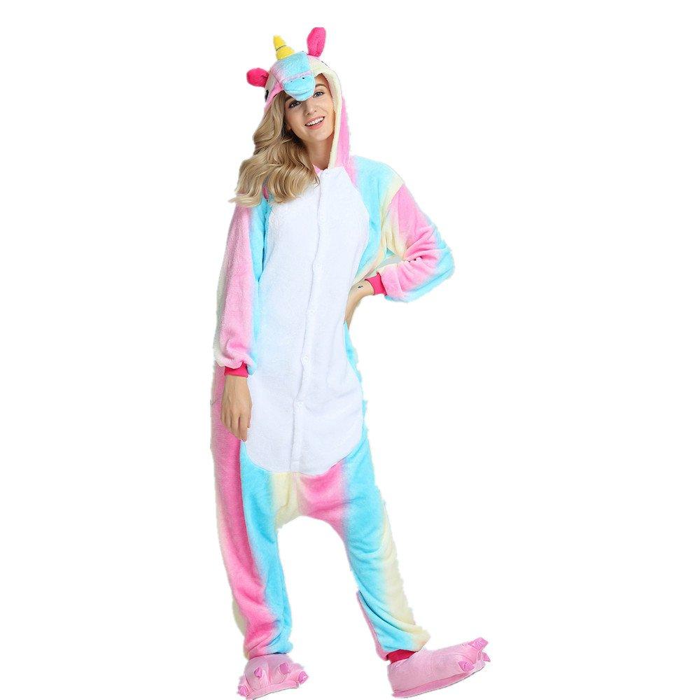 Colorfulworld Einhorn Pyjama Damen Jumpsuits Tier Schlafanzug mit Einhorn Kostüme Cosplay Karneval