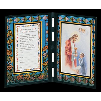 First Holy Communion Remembrance Frame Italian Stained Glass - Boy Spanish ()