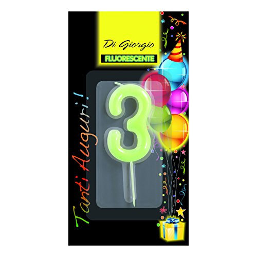 Decorations CERERIA Di Giorgio 58160 63 Giant Birthday Candle With Glitter Number 3