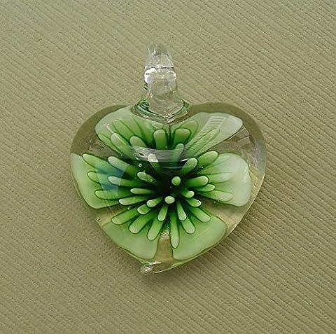 BeadsTreasure Heart Green Lampwork Blown Glass Murano Pendant. - Green Murano Glass Pendant