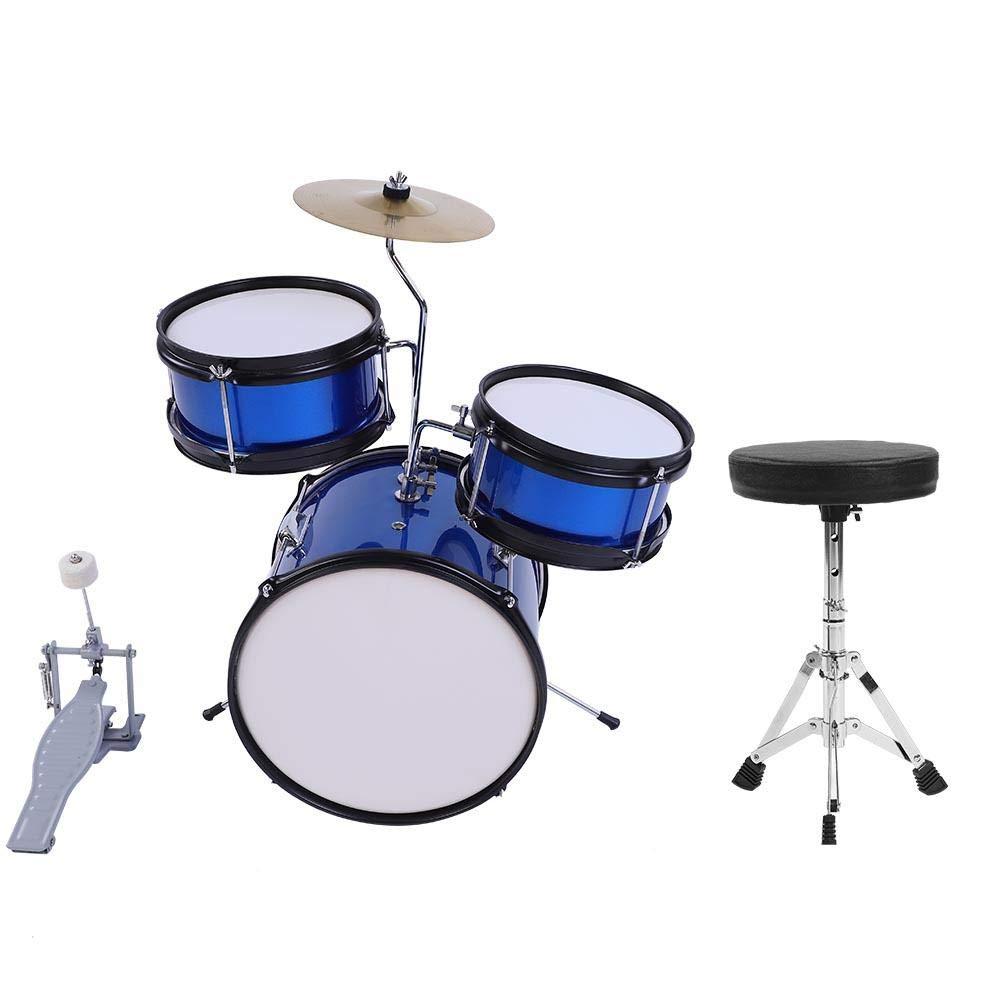 lyrlody Kids Drum Sets, 3PCs Kids Junior Children Drum Kit Drumsticks Pedal Beginners Set Training Learning