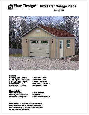 16' X 24' Car Garage/workshop Project Plans -Design #51624 by Plans Design