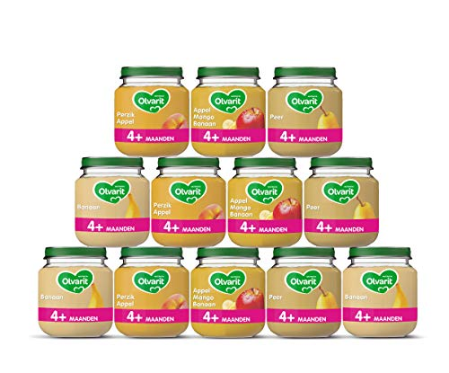 Olvarit Variatiemenu Fruit – fruithapje voor baby's vanaf 4+ maanden – 4 verschillende smaken babyvoeding – 12…