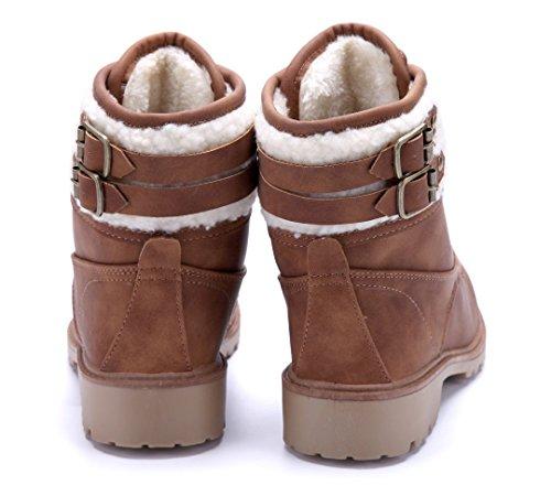 Schuhtempel24 Damen Schuhe Boots Stiefel Stiefeletten Blockabsatz Schnalle 4 cm Camel